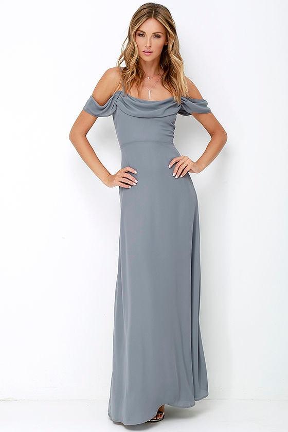 Dark grey gown maxi dress dark grey dress for Dark grey wedding dresses