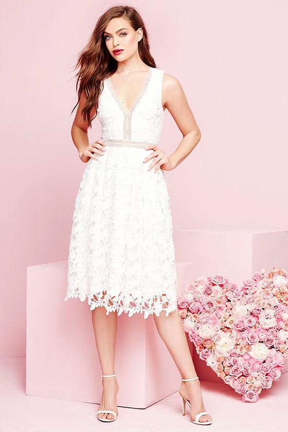 e8d6bbc708b4 Sexy Ivory Dress - Lace Dress - Midi Dress - $65.00