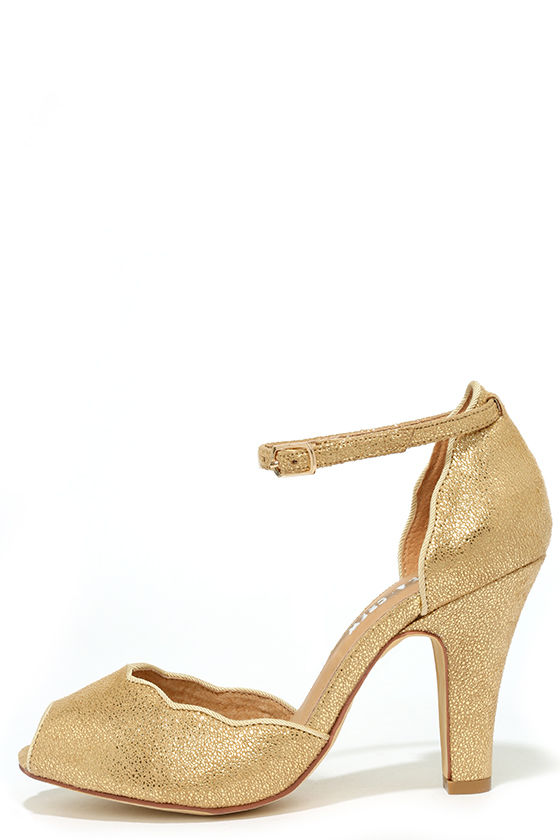 Pretty Gold Heels - Peep-Toe Heels - $65.00