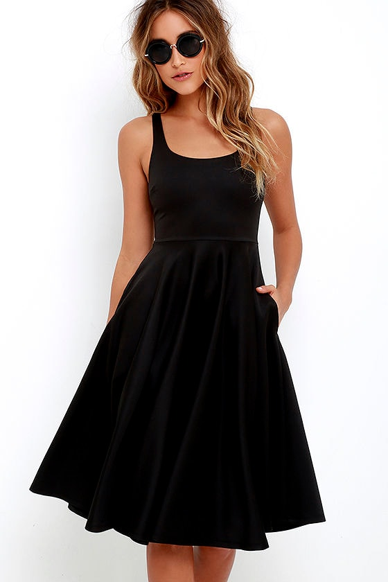 Lovely Black Dress Midi Dress Fit And Flare Dress 55 00