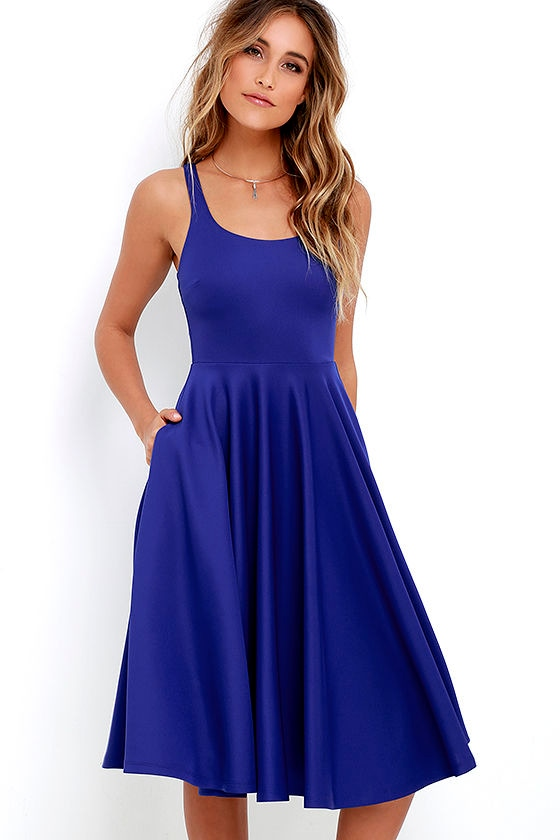 Lovely Royal Blue Dress Midi Dress Fit And Flare Dress 55 00