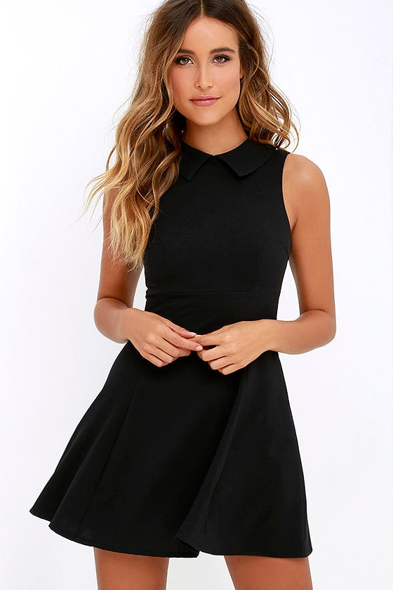 Cute Black Dress - Fit and Flare Dress - Collared Dress - $54.00
