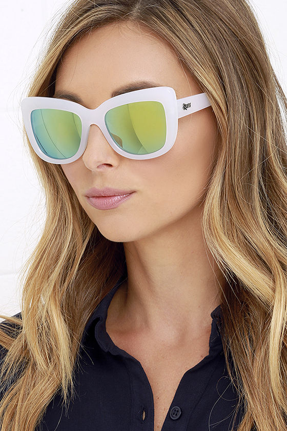 9d4ac6c7142f0 Quay Breath of Life - White and Green Sunglasses - Mirrored Sunglasses -   50.00