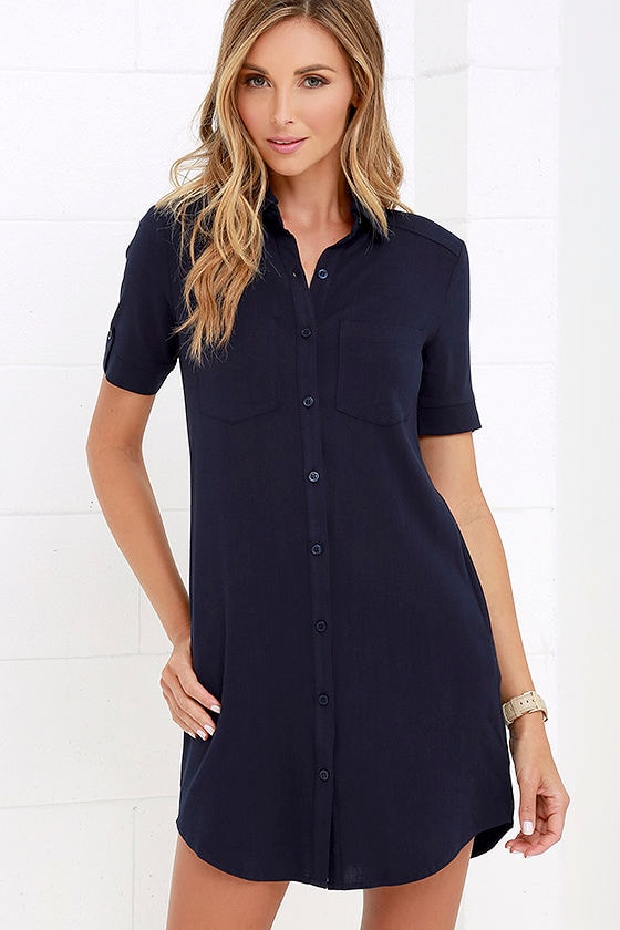 e6dafa9c3 Cute Navy Blue Dress - Shirt Dress - Button-Up Dress - Collared Dress -  $46.00