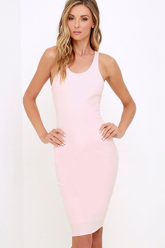 Sexy Light Pink Dress Bodycon Dress Midi Dress 42 00