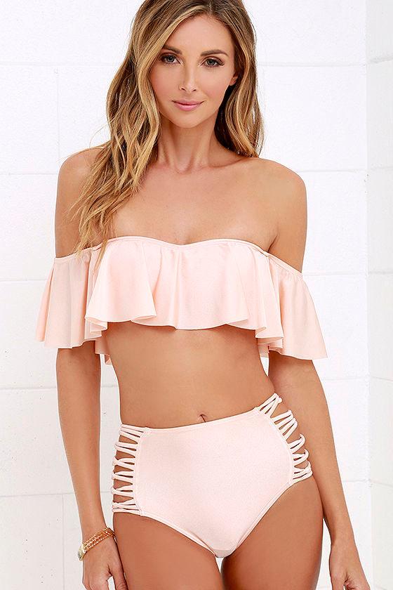 c653bbb14b O'Neill Lux Solids - High-Waisted Swimsuit - Peach Bikini Bottoms - $54.00