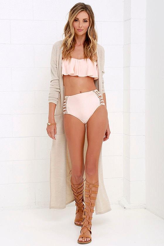 fea283d9f98 O'Neill Lux Solids - High-Waisted Swimsuit - Peach Bikini Bottoms ...