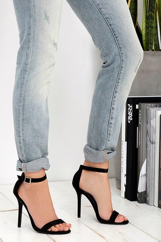 LULUS Elsi Black Single Strap Heels 2