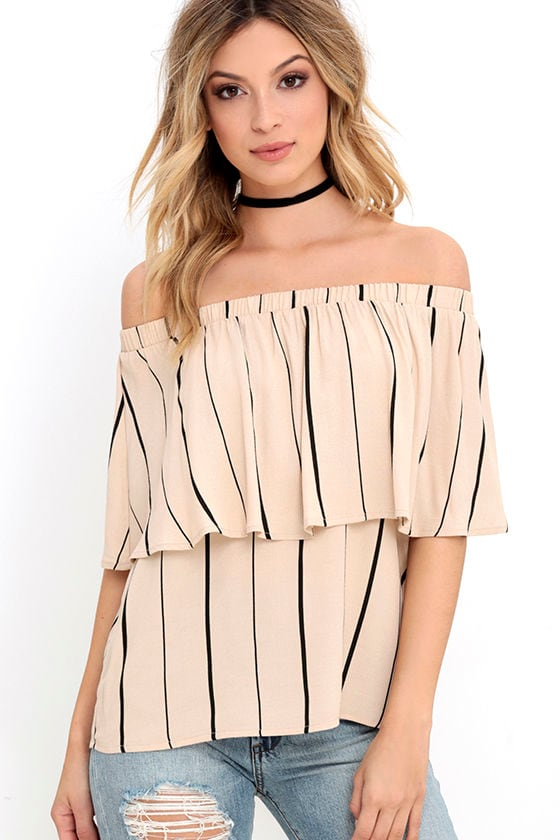 a9f94cca7b3f40 Cute Striped Top - Off-the-Shoulder Top -  32.00
