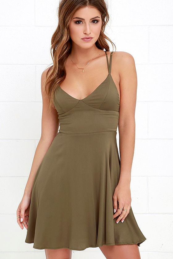 9e9338d771c Lovely Olive Green Dress - Fit-and-Flare Dress - $49.00