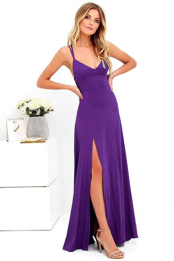 Sexy Purple Dress - Maxi Dress - Strappy Dress - $58.00