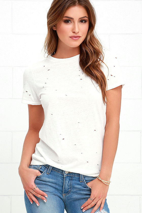 In the Raw Distressed Ivory Tee 1