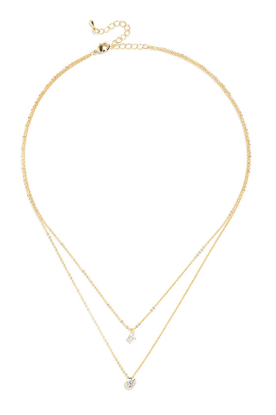 Life Story Gold Rhinestone Layered Necklace 2