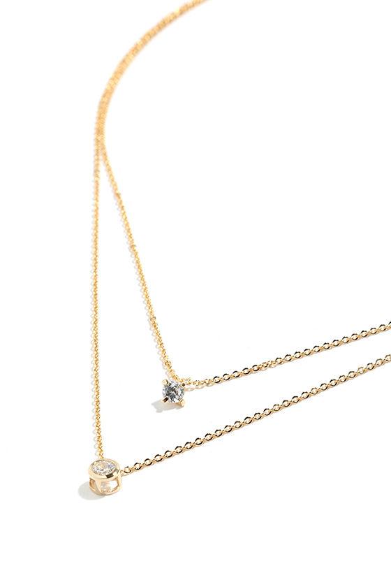 Life Story Gold Rhinestone Layered Necklace 3