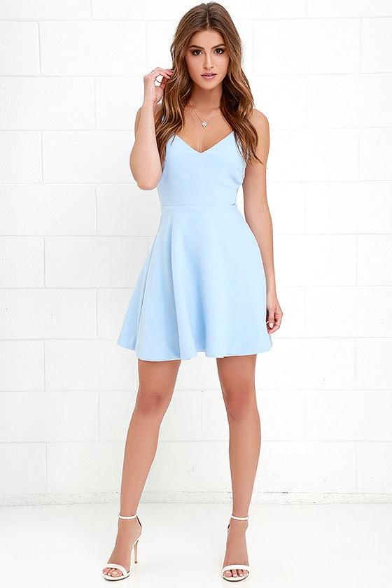 1c4fc8eea Skater Dress - Periwinkle Dress - Light Blue Dress - Fit-and-Flare ...