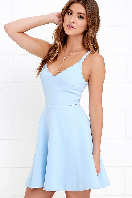 Skater Dress - Periwinkle Dress - Light Blue Dress - Fit-and-Flare ...