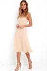 Lovely Beige Dress - Midi Dress - A-line Dress - Sleeveless Midi ... 4d4ec8a1f