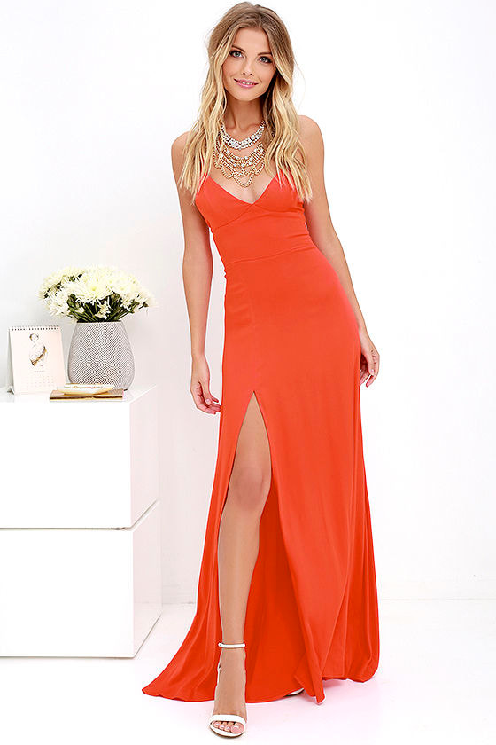 0eec4a72efb Sexy Coral Red Dress - Maxi Dress - Strappy Dress -  58.00