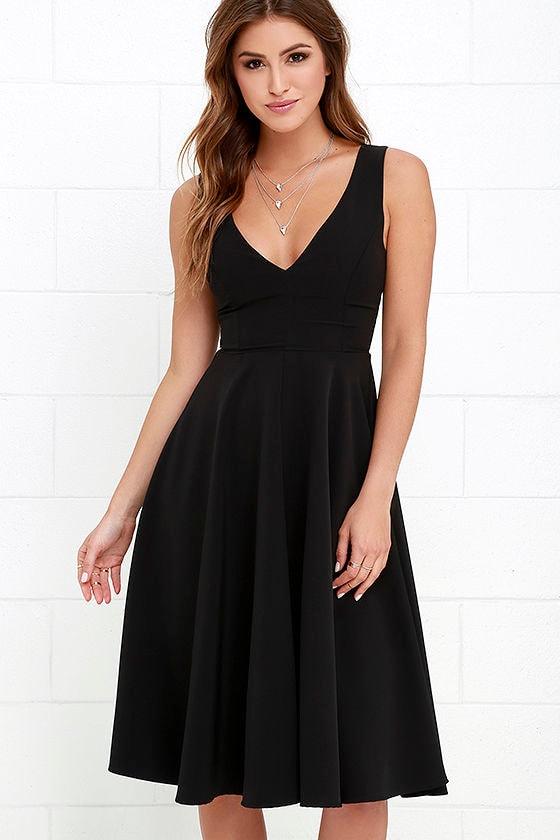 Lovely Black Dress Midi Dress Sleeveless Dress 4900