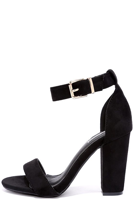 Cute Black Heels - Ankle Strap Heels - Dress Sandals - $35.00
