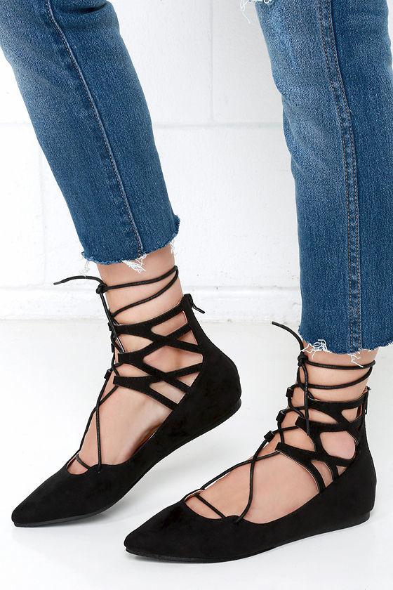 Black Lace Up Shoes Flats