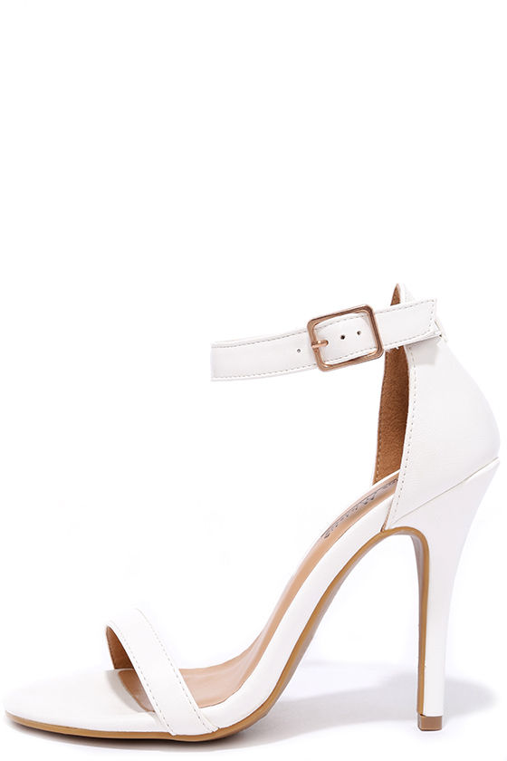 White Heels - Ankle Strap Heels - Ivory Heels - Vegan Leather