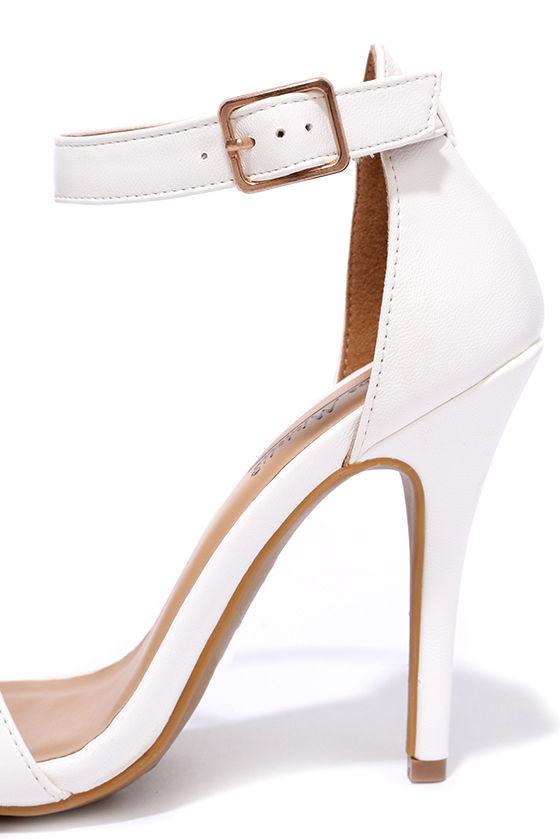 Shayla White Ankle Strap Heels  Lulus