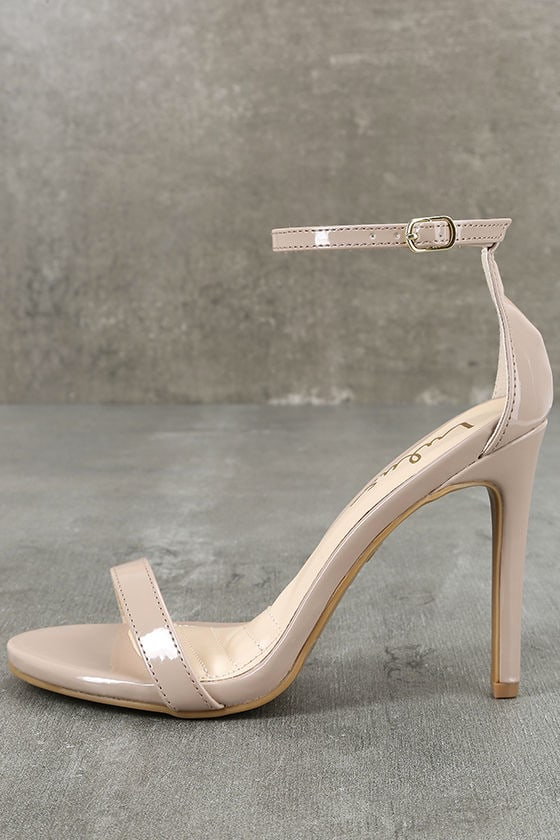 Loveliness Nude Patent Ankle Strap Heels 1