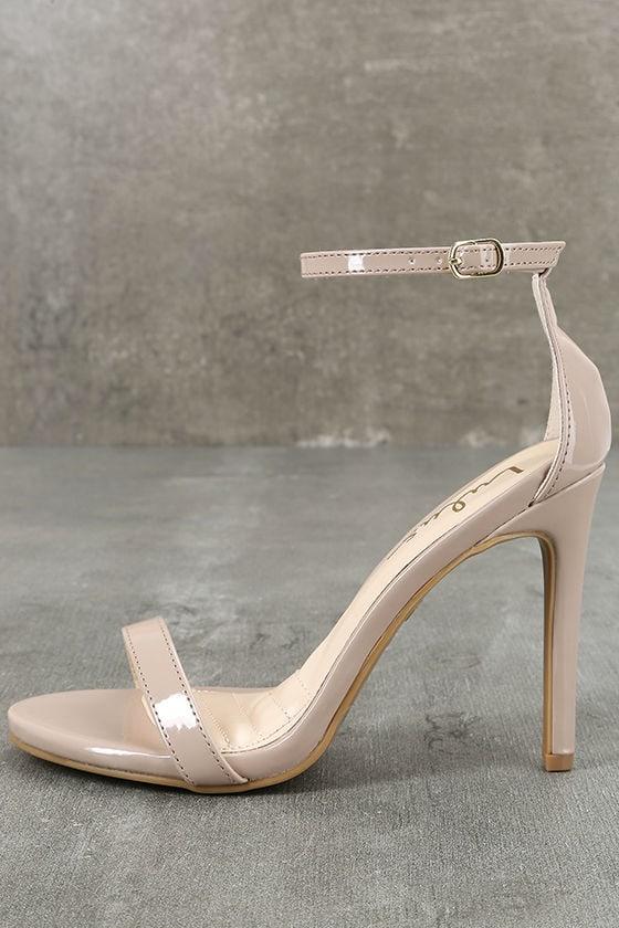 Nude Heels - Ankle Strap Heels - Single Strap Heels - $28.00