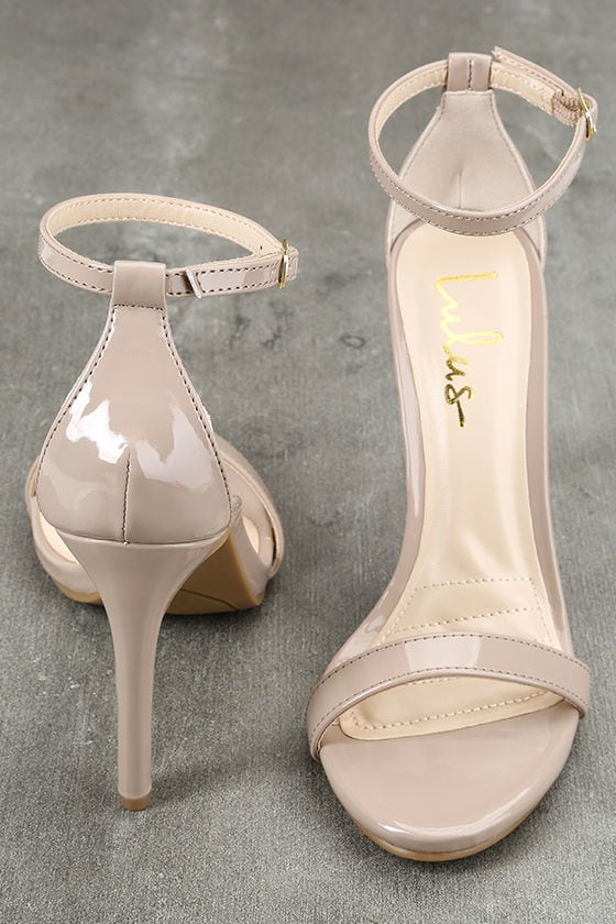 Loveliness Nude Patent Ankle Strap Heels 3