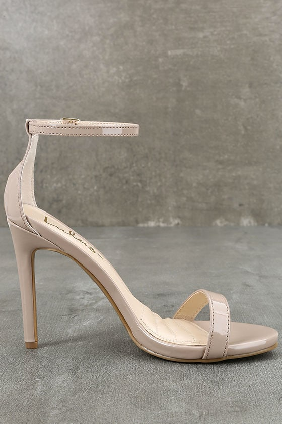 Loveliness Nude Patent Ankle Strap Heels 4