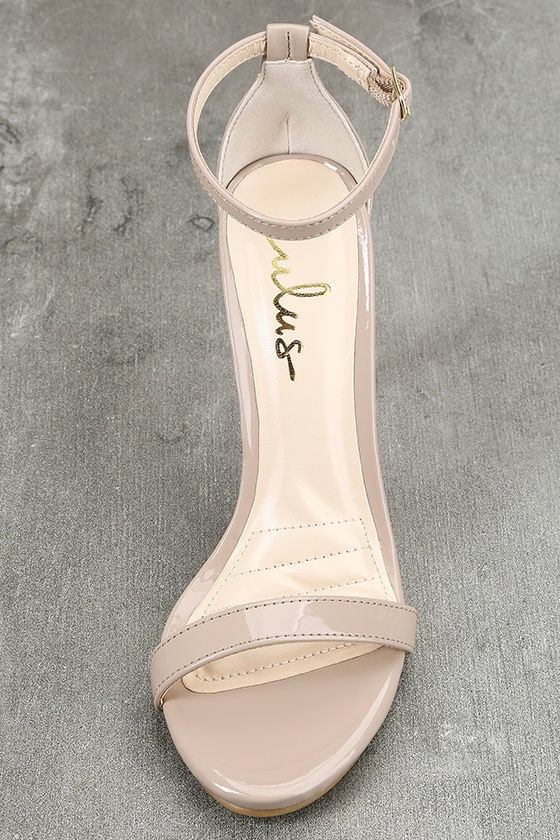 Loveliness Nude Patent Ankle Strap Heels 5