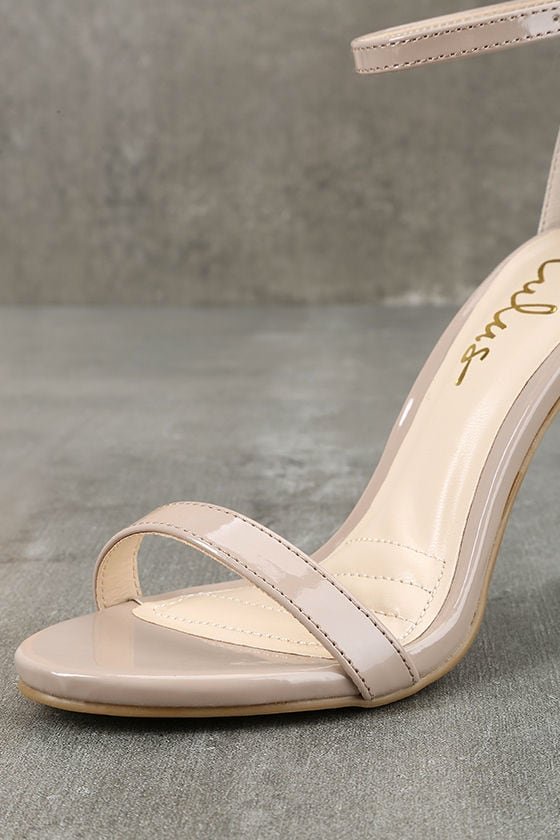Loveliness Nude Patent Ankle Strap Heels 6