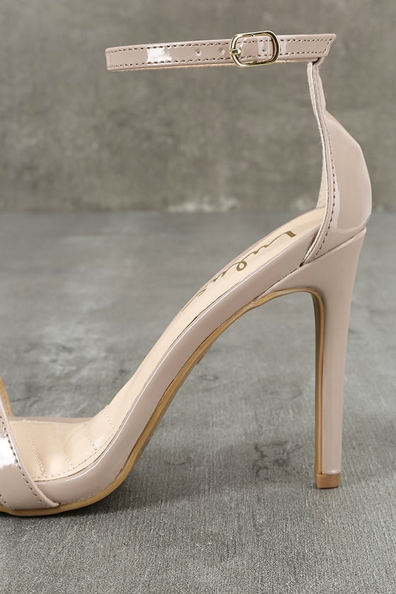 Loveliness Nude Patent Ankle Strap Heels 7