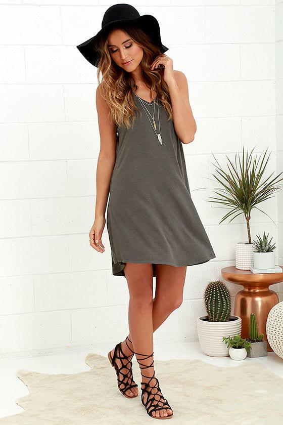 79a96c7119d5 Charcoal Grey Dress - Swing Dress - $48.00