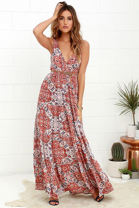 Coral Red Print Dress - Maxi Dress - Sleeveless Dress - $115.00