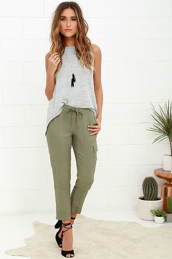 Chic Olive Green Pants - Jogger Pants - Cargo Pants - $76.00