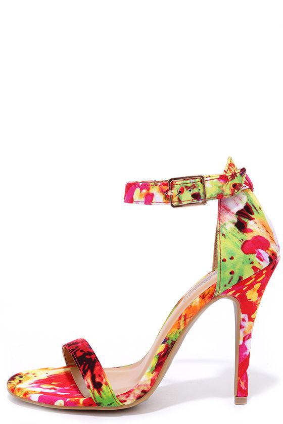 Red Print Heels - Ankle Strap Heels - Floral Print Heels - $28.00