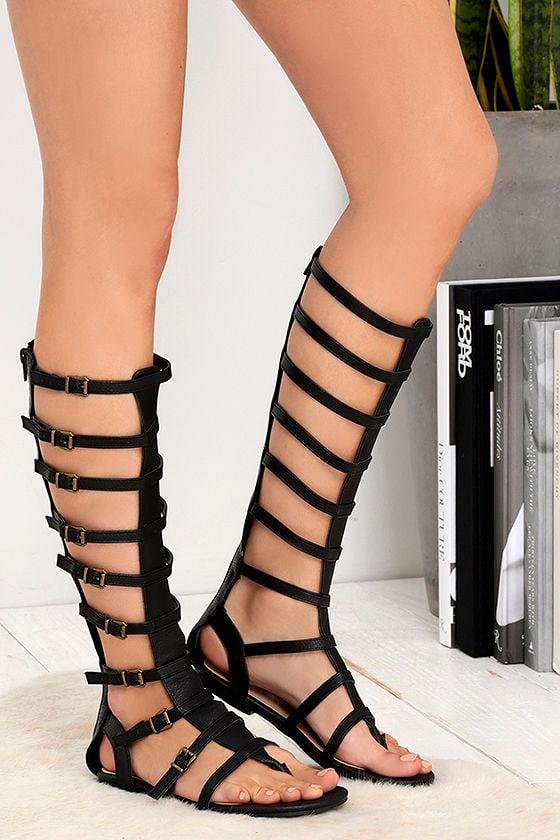 7f9aa8152 Cute Black Sandals - Tall Gladiator Sandals - Flat Sandals -  59.00