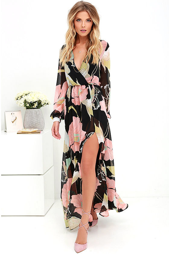 Lovely Black Floral Print Dress - Maxi Dress - Long Sleeve Dress ...