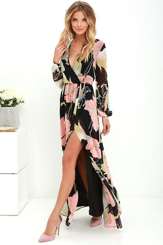 Lovely Black Floral Print Dress - Maxi Dress - Long Sleeve Dress ...