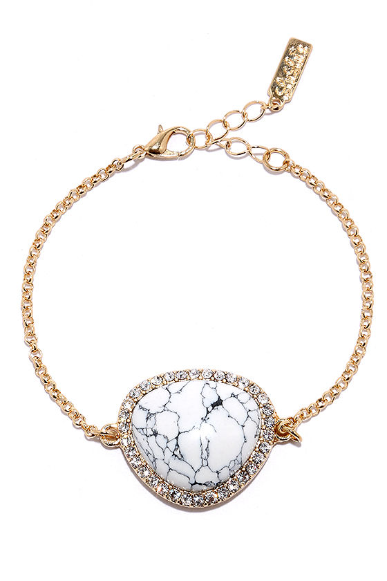 Ready Ore Not Gold and White Bracelet at Lulus.com!