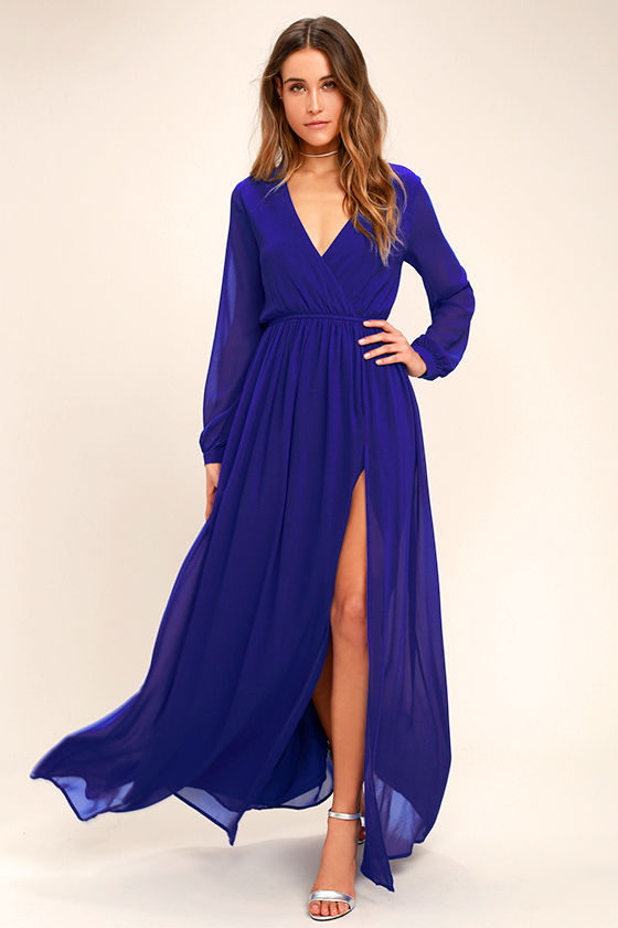 Lovely Royal Blue Dress - Maxi Dress - Long Sleeve Dress - $78.00