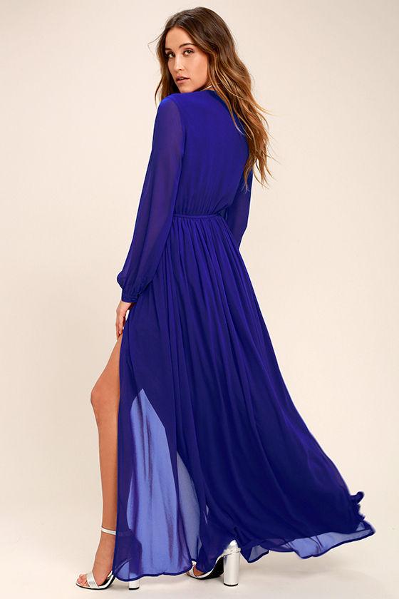 lovely royal blue dress - maxi dress - long sleeve dress - $78.00