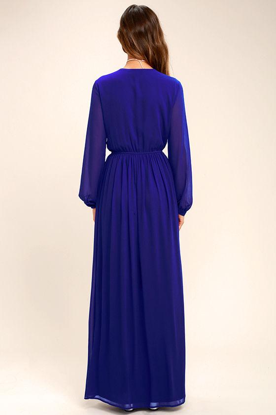 Wondrous Water Lilies Royal Blue Maxi Dress 4