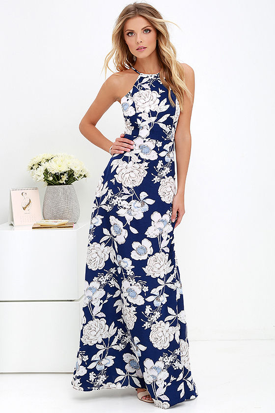 Lovely Blue Floral Print Dress - Maxi Dress - Halter Maxi - $59.00