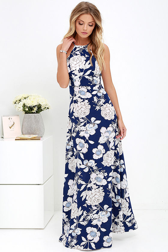 6dda02e128 Lovely Blue Floral Print Dress - Maxi Dress - Halter Maxi - $59.00