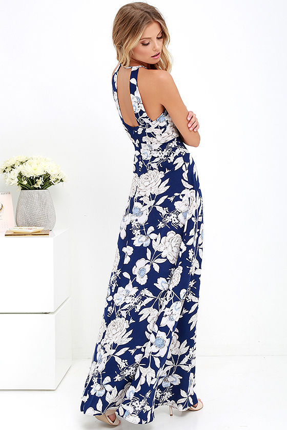 In Blossom Blue Floral Print Maxi Dress 3