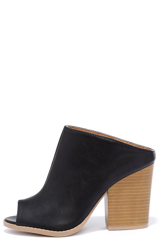 e921b1879fb Cute Black Mules - Vegan Leather Mules - Slip-On Heels -  30.00