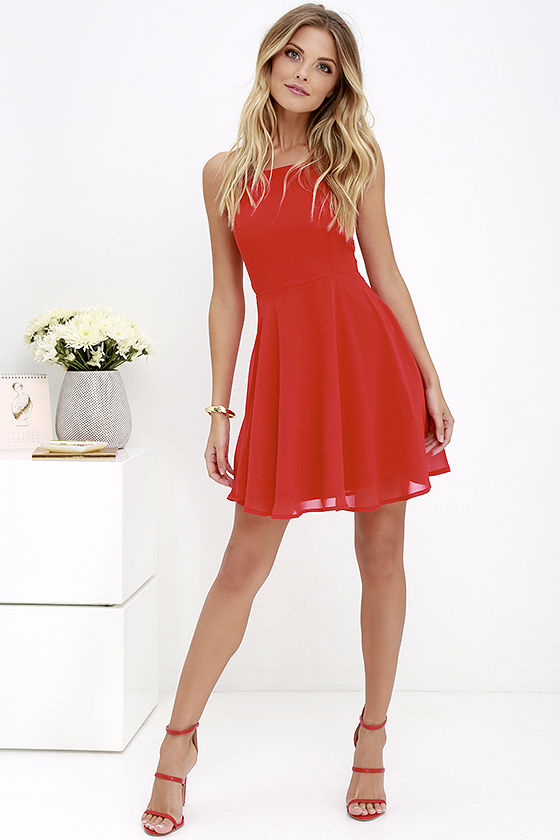 Good Deeds Red Lace-Up Dress 2